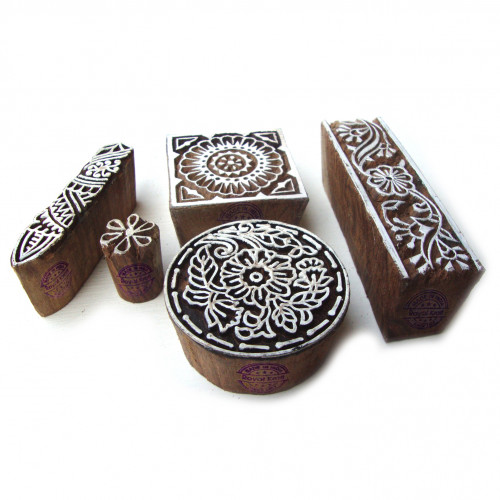 (Set of 5) Original Round and Floral Designs Wooden Block Stamps