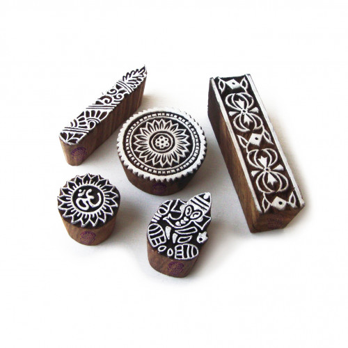 (Set of 5) Ethnic Religious and Floral Designs Wooden Block Stamps