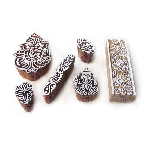 (Set of 6) Exclusive Ganesha and Border Designs Wooden Block Stamps