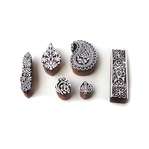 (Set of 6) Ethnic Paisley and Floral Designs Wooden Block Stamps