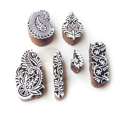 (Set of 6) Asian Leaf and Paisley Designs Wooden Block Stamps