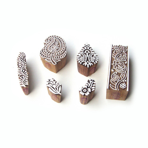 (Set of 6) Flower and Paisley Handcrafted Designs Wooden Block Stamps