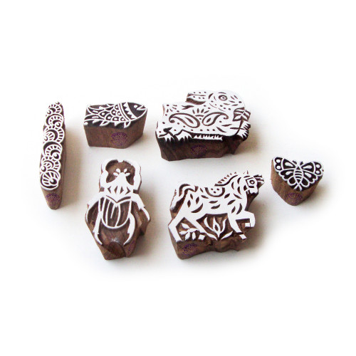 (Set of 6) Rabbit and Horse Ethnic Designs Wooden Block Stamps