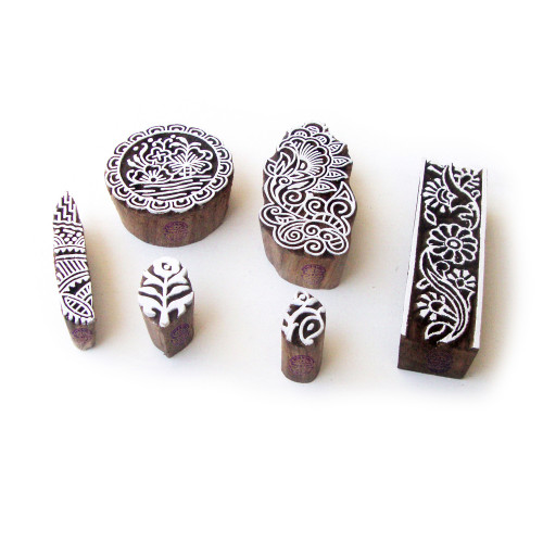 (Set of 6) Round and Floral Decorative Designs Wooden Block Stamps