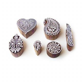 (Set of 6) Heart and Paisley Hand Made Designs Wooden Block Stamps