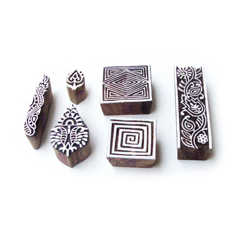 (Set of 6) Geometric and Floral Traditional Designs Wooden Block Stamps