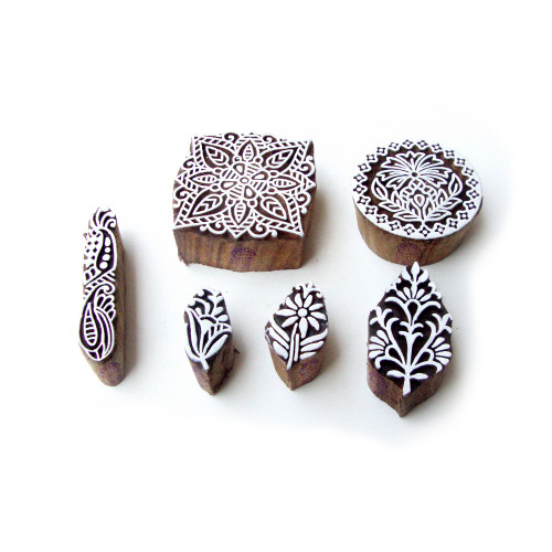 (Set of 6) Assorted and Floral Handcrafted Designs Wooden Block Stamps