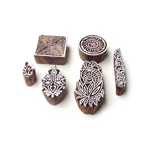 (Set of 6) Assorted and Floral Hand Carved Designs Wooden Block Stamps