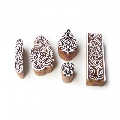 (Set of 5) Leaf and Assorted Elegant Designs Wooden Block Stamps