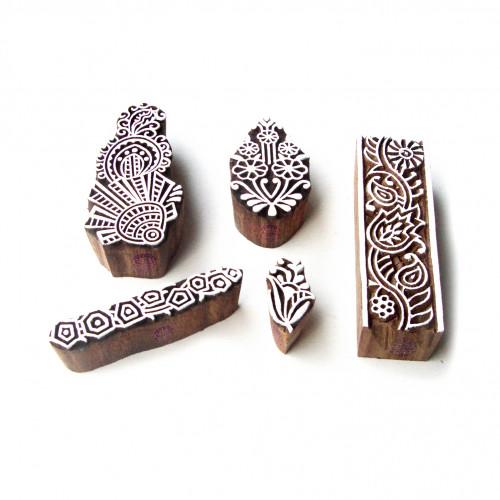 (Set of 5) Border and Leaf Designer Designs Wooden Block Stamps