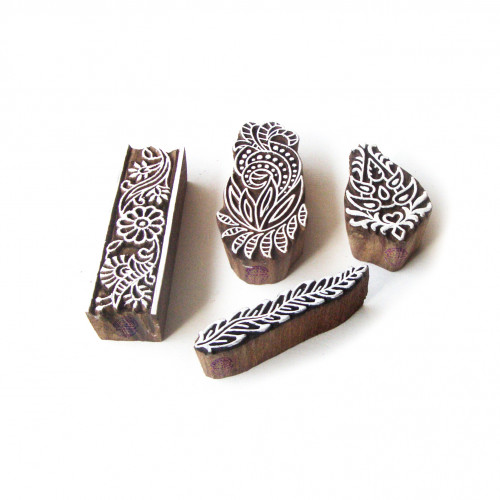 (Set of 4) Assorted and Floral Exclusive Designs Wooden Block Stamps