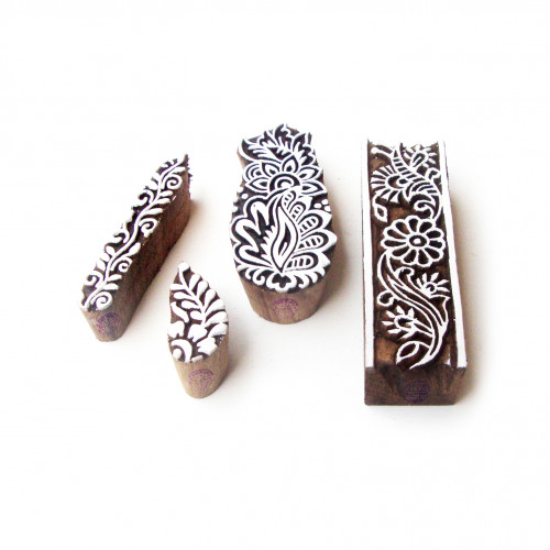 (Set of 4) Border and Assorted Artistic Designs Wooden Block Stamps