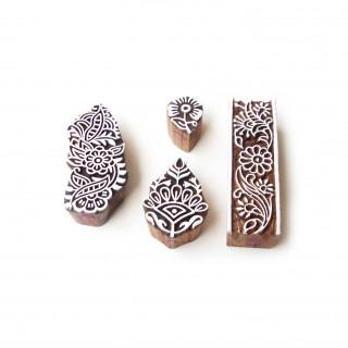 (Set of 4) Leaf and Border Ethnic Designs Wooden Block Stamps