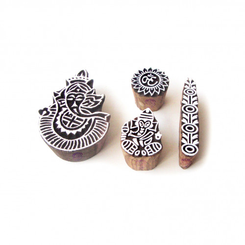 (Set of 4) Ganesha and Border Hand Crafted Designs Wooden Block Stamps
