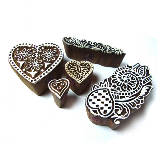 (Set of 5) Designer Heart and Floral Designs Wooden Printing Stamps