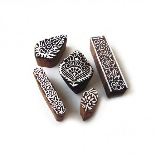 (Set of 5) Decorative Floral and Leaf Designs Wooden Printing Stamps