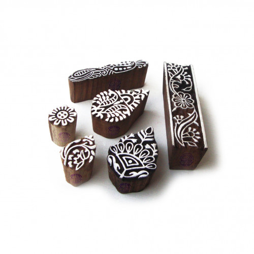 (Set of 6) Traditional Leaf and Border Designs Wooden Printing Stamps