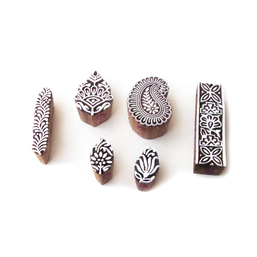 (Set of 6) Asian Paisley and Floral Designs Wooden Printing Stamps