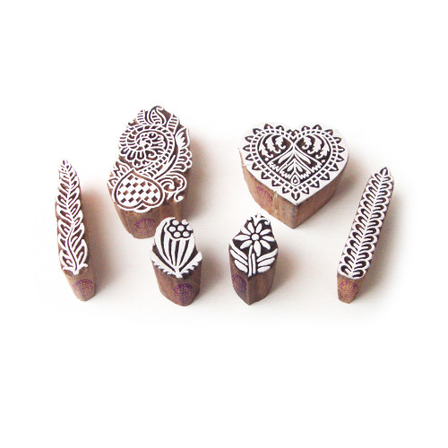 (Set of 6) Flower and Heart Asian Designs Wooden Printing Stamps