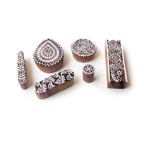 (Set of 6) Border and Flower Decorative Designs Wooden Printing Stamps