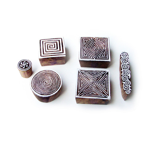 (Set of 6) Geometric and Spiral Handmade Designs Wooden Printing Stamps