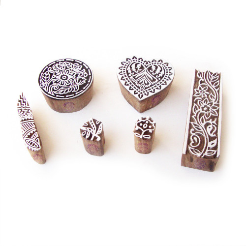 (Set of 6) Round and Heart Traditional Designs Wooden Printing Stamps