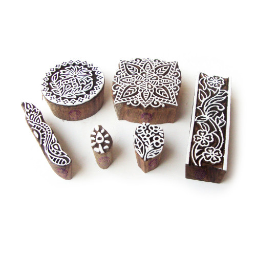 (Set of 6) Assorted and Floral Ethnic Designs Wooden Printing Stamps