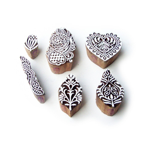 (Set of 6) Leaf and Heart Hand Crafted Designs Wooden Printing Stamps