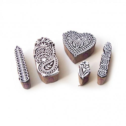 (Set of 5) Heart and Border Designer Designs Wooden Printing Stamps