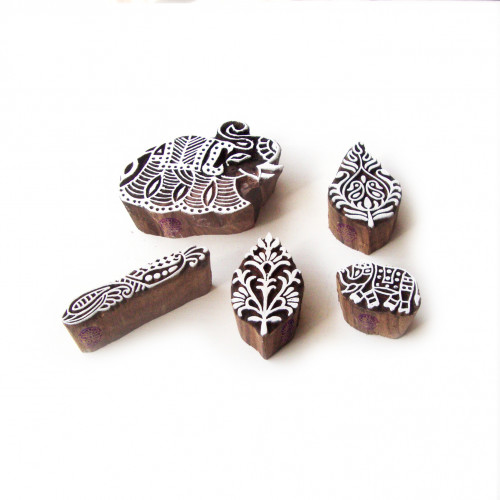(Set of 5) Elephant and Floral Jaipuri Designs Wooden Printing Stamps