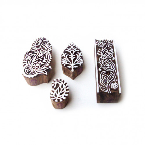(Set of 4) Assorted and Floral Asian Designs Wooden Printing Stamps