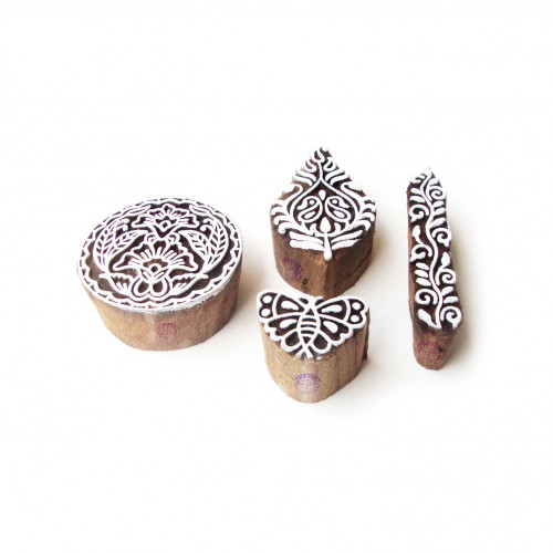 (Set of 4) Butterfly and Round Decorative Designs Wooden Printing Stamps