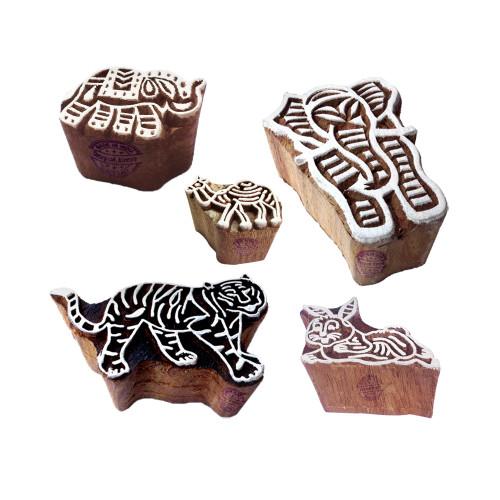 (Set of 5) Designer Motif Animal and Elephant Wooden Printing Stamps