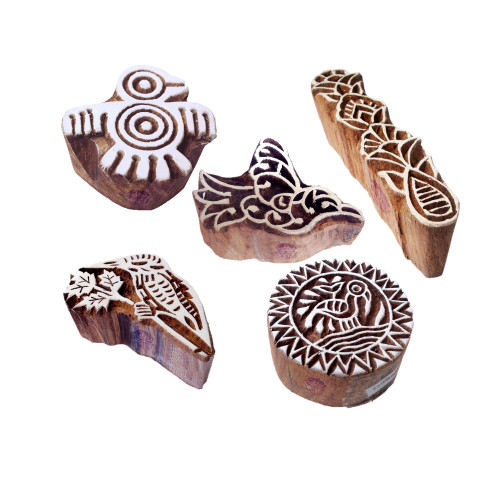 (Set of 5) Stylish Designs Bird and Finger Wood Print Stamps