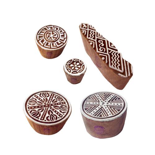 (Set of 5) Retro Designs Geometric and Finger Wooden Printing Blocks