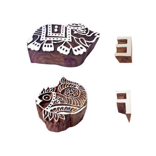 (Set of 4) Learning Wood Stamps Attractive Elephant Fish Design Printing Blocks