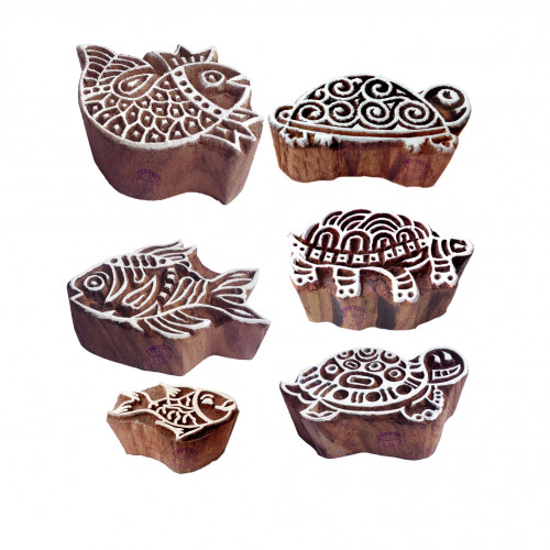 (Set of 6) Ornate Pattern Tortoise and Fish Wood Block Stamps