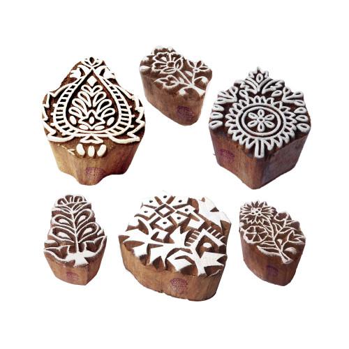 (Set of 6) Textile Wooden Blocks Handcrafted Floral Design Printing Stamps