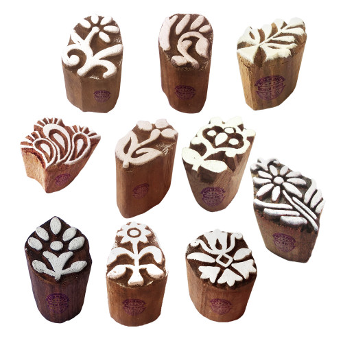 (Set of 10) Textile Wooden Blocks Ethnic Small Floral Design Printing Stamps