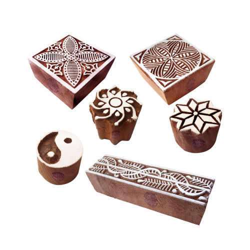 (Set of 6) Clay Print Stamps Crafty Square Floral Pattern Wood Blocks