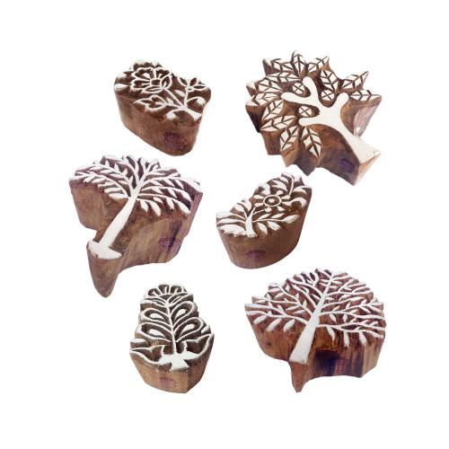 (Set of 6) Mehndi Print Blocks Handmade Tree Floral Pattern Wooden Stamps