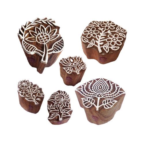 (Set of 6) Tattoo Printing Blocks Original Lotus Floral Shape Wood Stamps