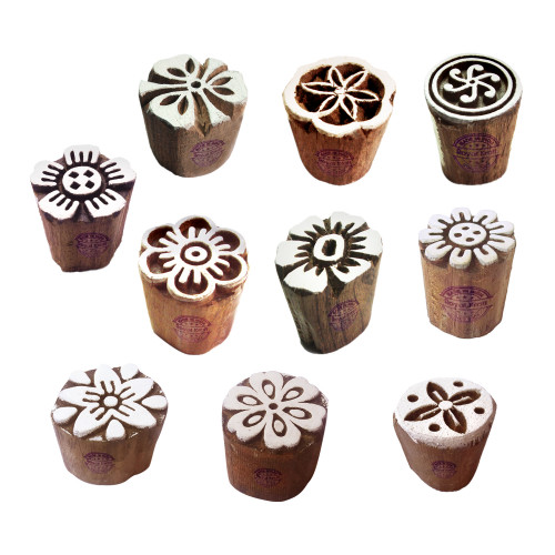 (Set of 10) Clay Printing Stamps Arty Crafty Small Floral Shape Wooden Blocks