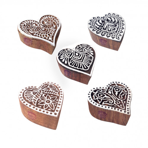 (Set of 5) Crafty Pattern Heart and Floral Wood Block Stamps