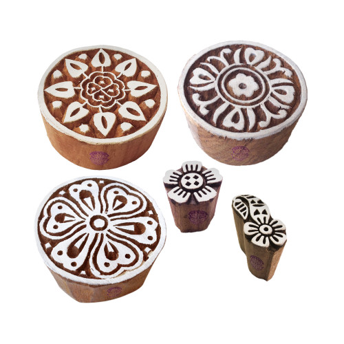 (Set of 5) Retro Designs Mix and Floral Wood Print Stamps