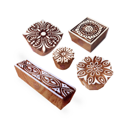 (Set of 5) Stylish Designs Assorted and Floral Wooden Block Stamps