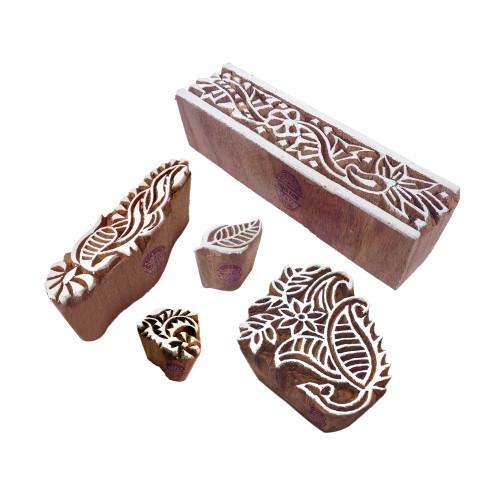 (Set of 5) Jaipuri Designs Leaf and Floral Wooden Printing Blocks