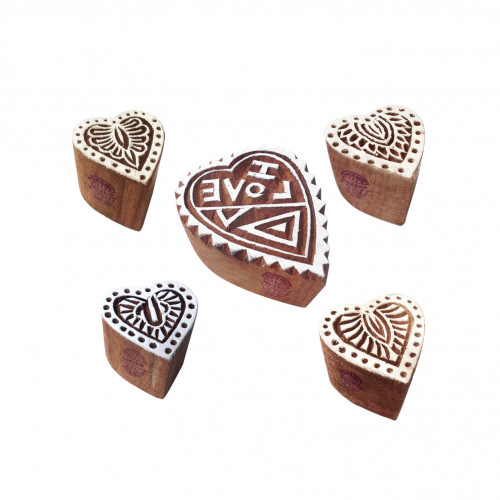 (Set of 5) Decorative Motif Heart and Floral Wooden Printing Stamps