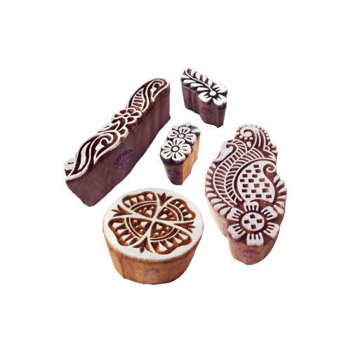 (Set of 5) Trendy Motif Assorted and Floral Wooden Printing Stamps