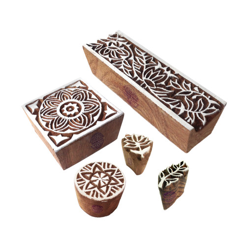 (Set of 5) Intricate Motif Square and Floral Wooden Printing Stamps